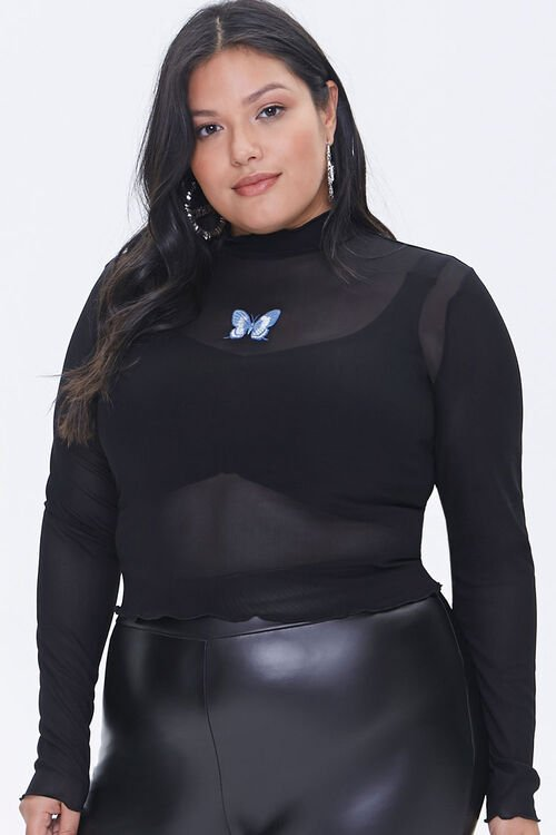 Plus Size Mesh Butterfly Patch Top, image 1