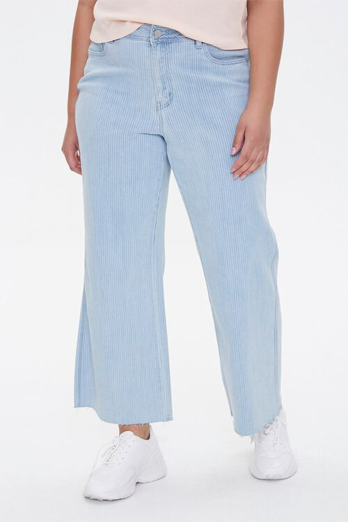Plus Size Pinstriped Wide-Leg Jeans, image 2