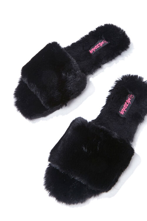 BLACK Faux Fur Slippers, image 3
