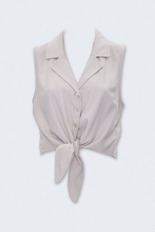 Self-Tie Cropped Shirt, image 1