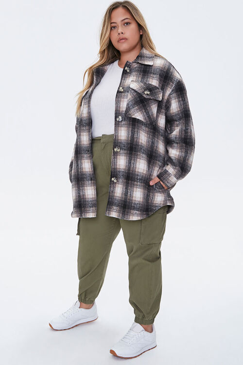 Plus Size Plaid Button-Front Jacket, image 4