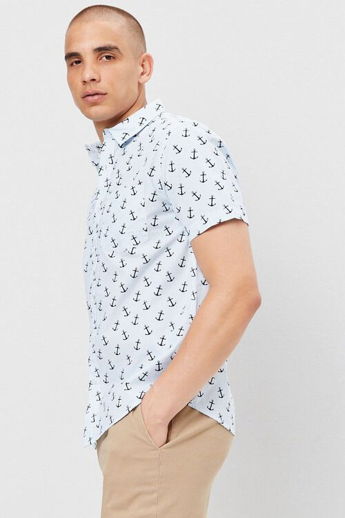 Fitted Pinstriped Anchor Print Shirt, image 2