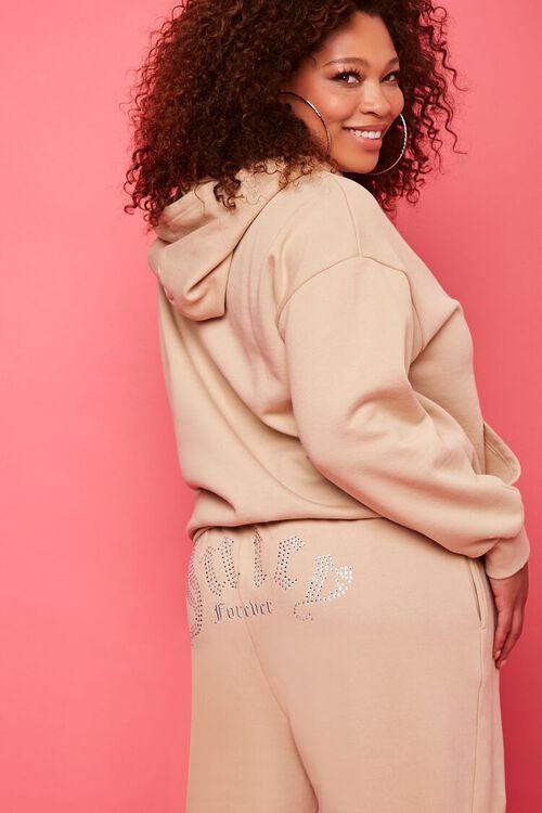 TAN/MULTI Plus Size Juicy Couture Fleece Joggers, image 1