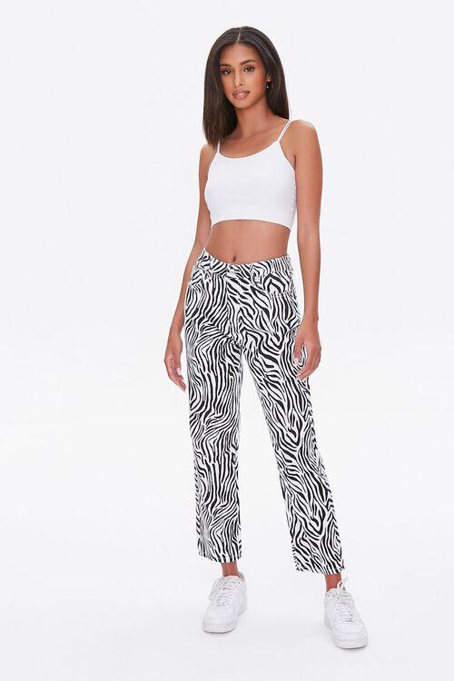 BLACK/WHITE Zebra Print Straight Jeans, image 1