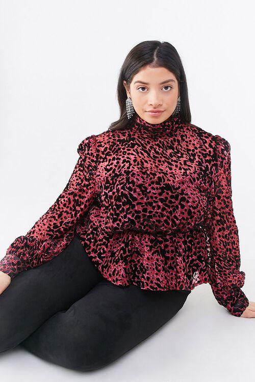 BERRY/BLACK Plus Size Sheer Flocked Velvet Top, image 1