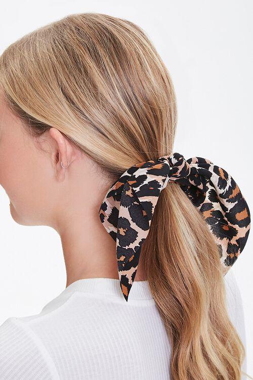 CREAM/BLACK Leopard Print Bow Scrunchie, image 1