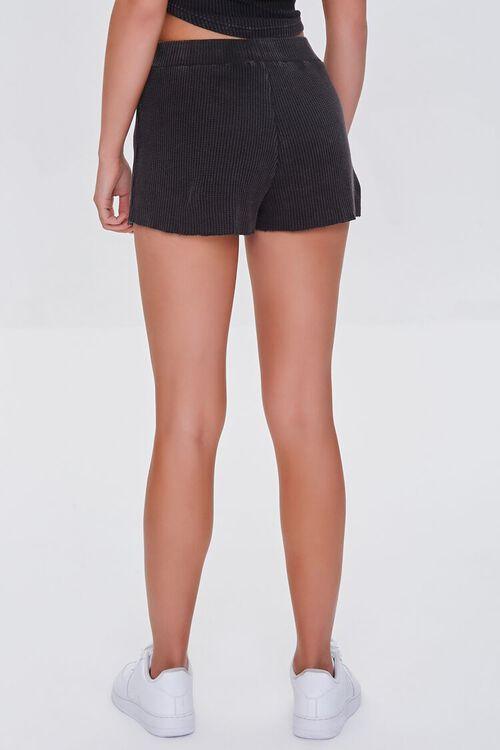CHARCOAL Waffle Knit Frayed Shorts, image 4