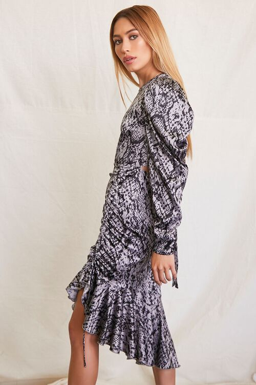 GREY/BLACK Satin Snake Print Dress, image 2