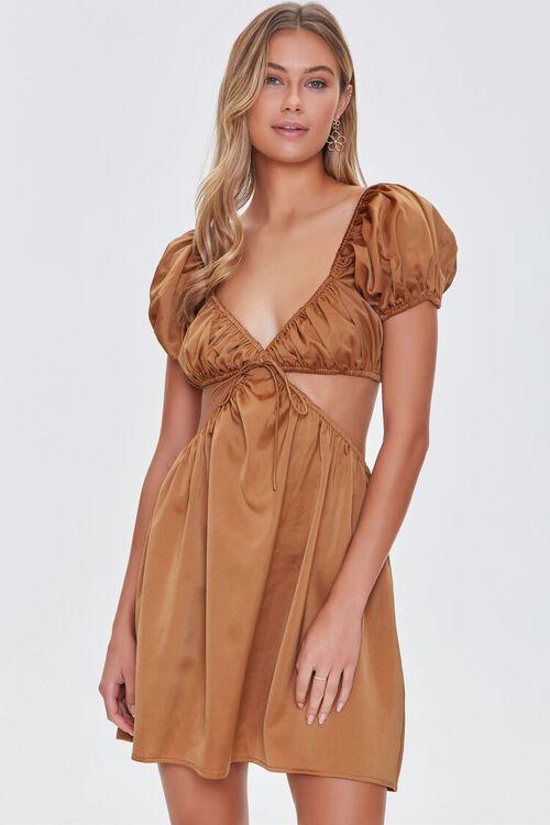 CHESTNUT Satin Puff Sleeve Mini Dress, image 1