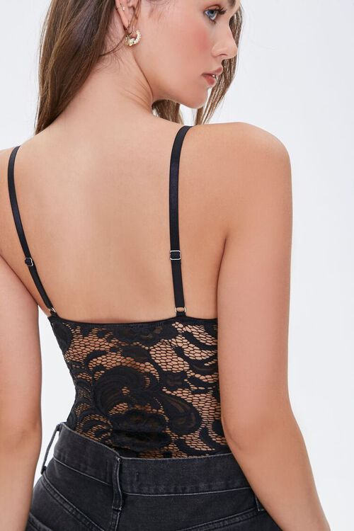 BLACK Embroidered Lace Bodysuit, image 3