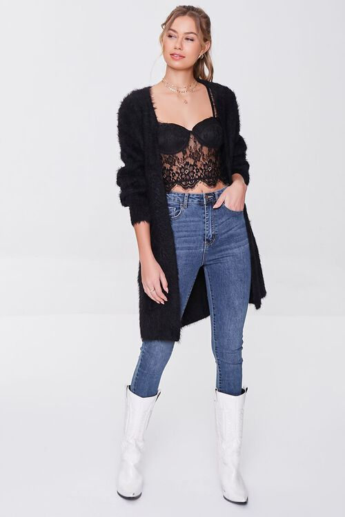 BLACK Fuzzy Knit Cardigan Sweater, image 4