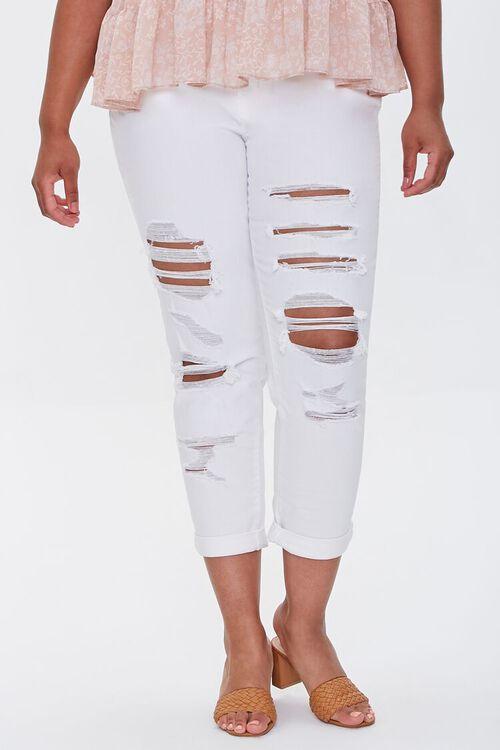 WHITE Plus Size Boyfriend Jeans, image 2