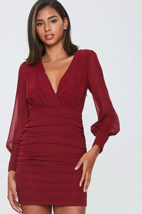 Ruched Surplice Mini Dress, image 1