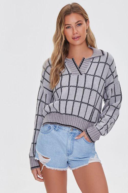 GREY/MULTI Split-Neck Plaid Sweater, image 1