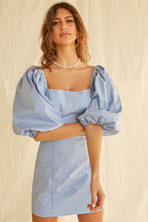 Gingham Balloon-Sleeve Dress, image 5