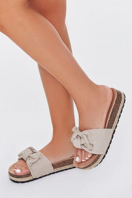 BEIGE Linen Bow Cork Flatform Sandals, image 1