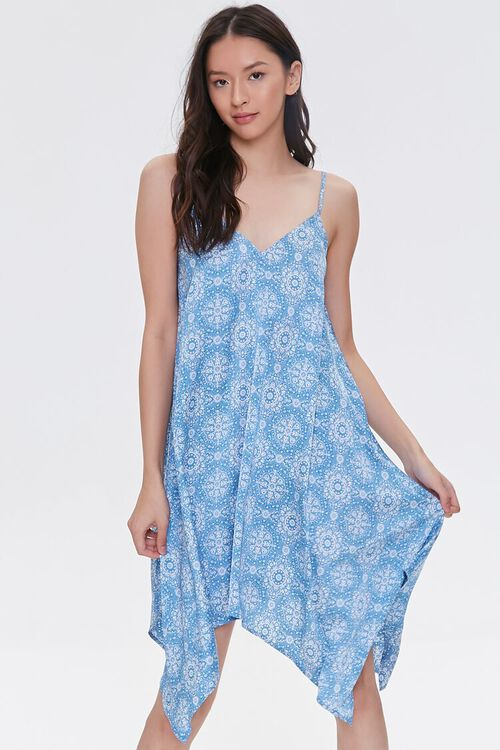 BLUE/CREAM Ornate Print Handkerchief Dress, image 1