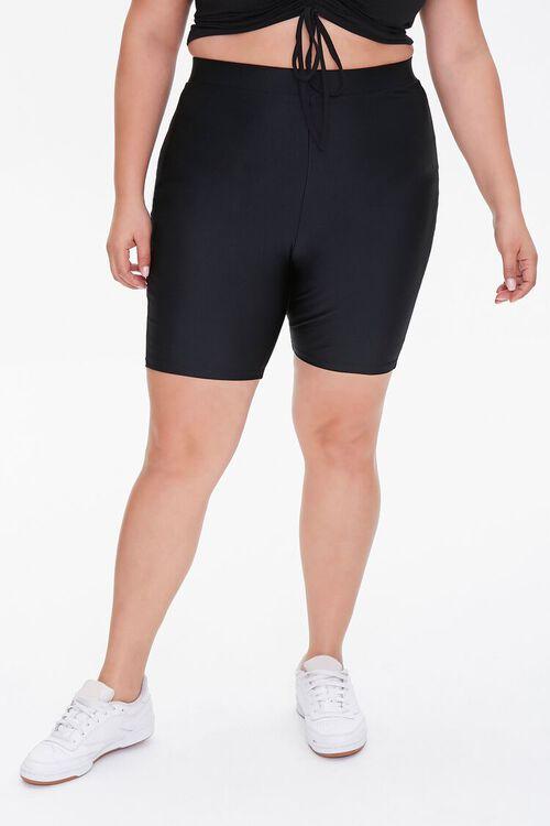 Plus Size Striped-Trim Biker Shorts, image 2