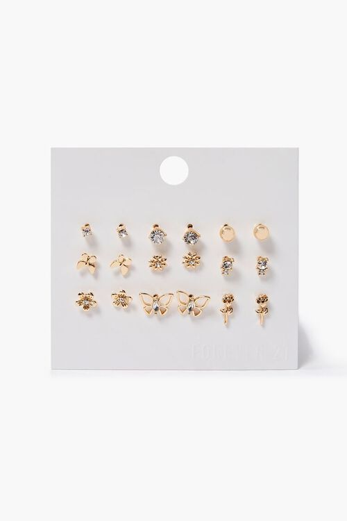 Rhinestone Butterfly Stud Earring Set, image 1