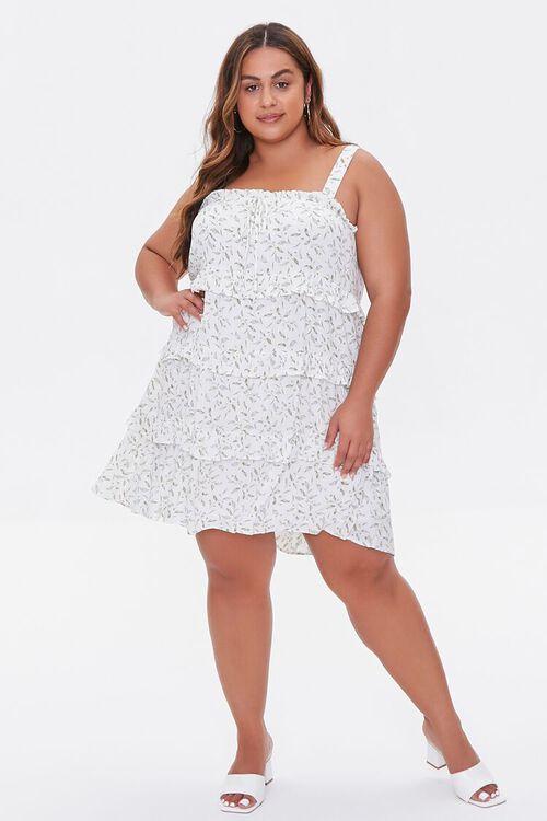 Plus Size Leaf Print Tiered Mini Dress, image 4