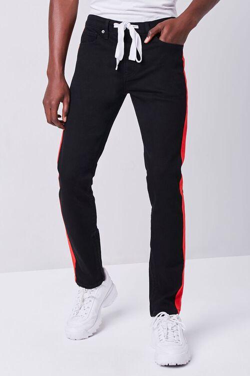 BLACK/RED Premium Side-Striped Jeans, image 2