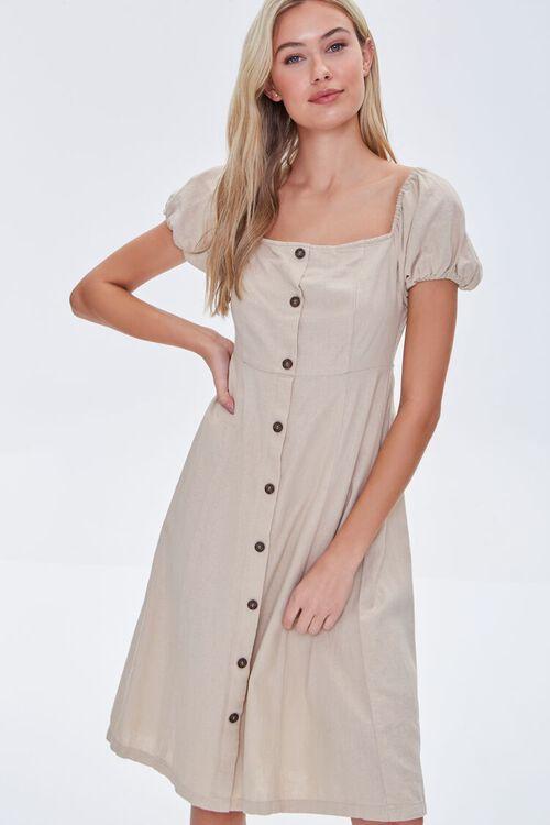 KHAKI Buttoned Puff-Sleeve Dress, image 1