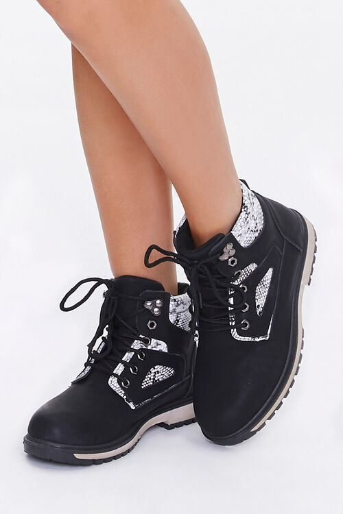 Faux Suede & Snakeskin Ankle Boots, image 1