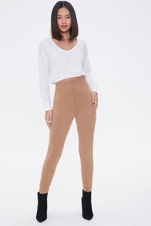 Fuzzy Sweater-Knit Joggers, image 1