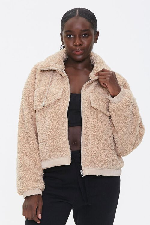 Faux Shearling Zip-Up Jacket, image 1