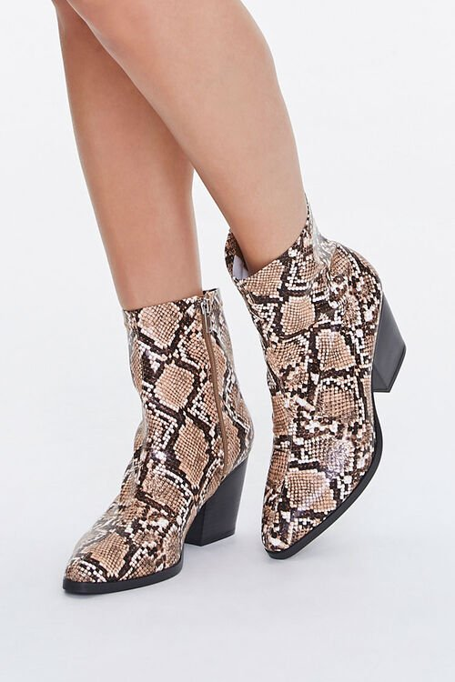 Faux Snakeskin Booties (Wide), image 1