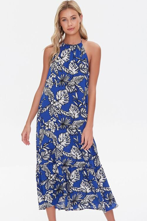 BLUE/CREAM Tropical Leaf Print Halter Dress, image 1