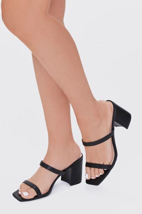 BLACK Metallic Slip-On Block Heels, image 1