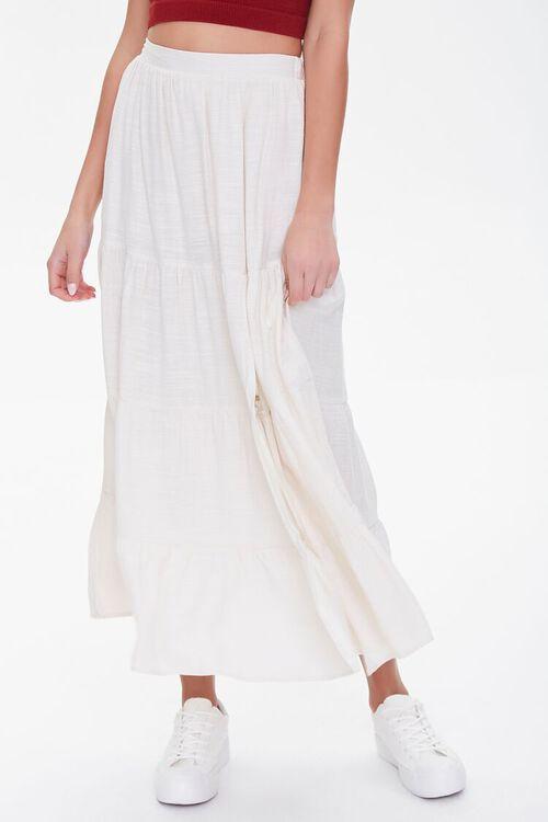 Tiered Linen-Blend Midi Skirt, image 2