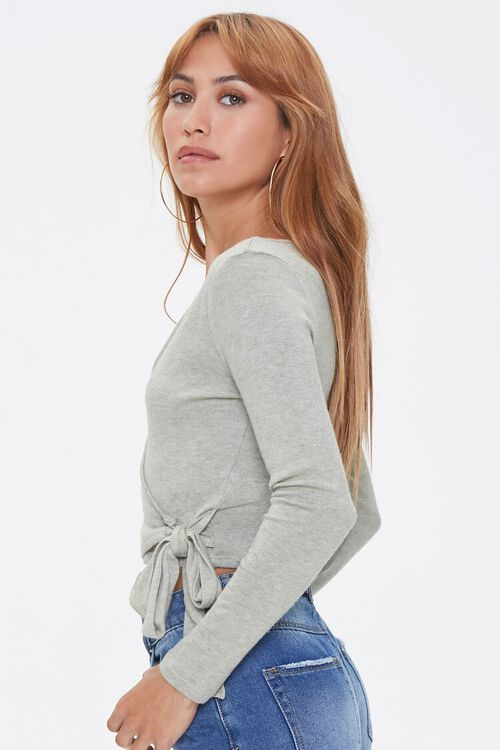 Marled Knit Wrap Top, image 2
