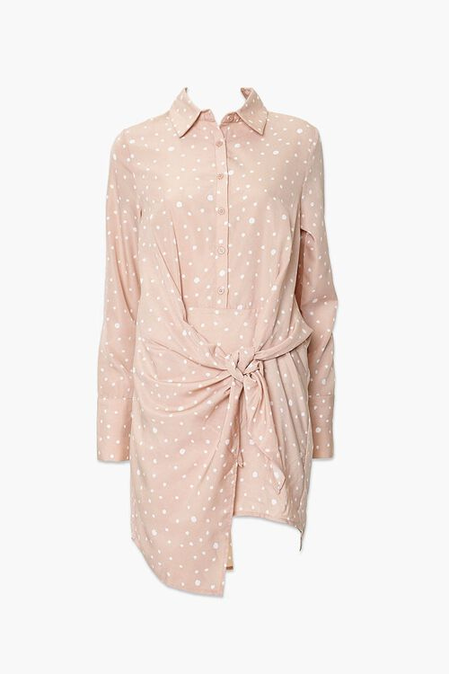 Knotted Polka Dot Shirt Dress, image 1