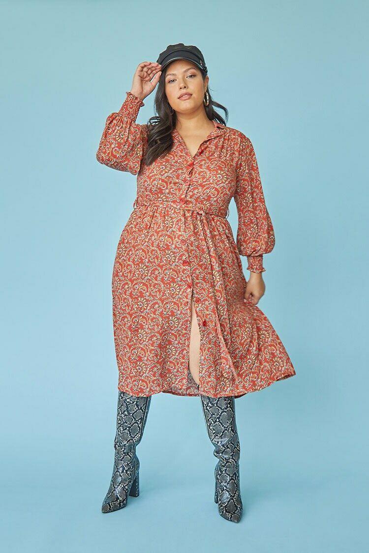 Plus Size Paisley Print Shirt Dress