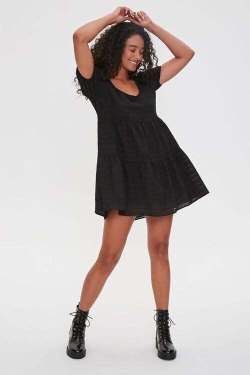 Striped Puff-Sleeve Mini Dress, image 4