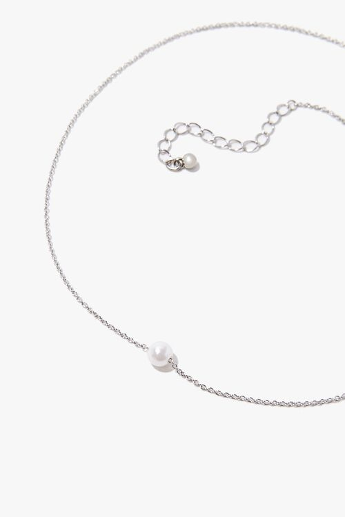 SILVER/CREAM Faux Pearl Charm Necklace, image 2