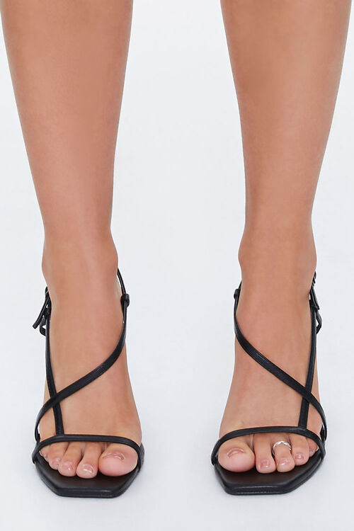 Strappy Faux Leather Block Heels, image 2