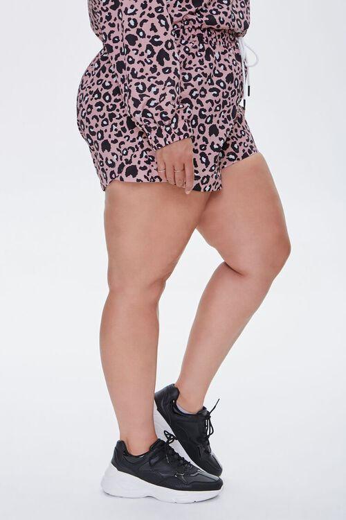 PINK/MULTI Plus Size Leopard Print Drawstring Shorts, image 3