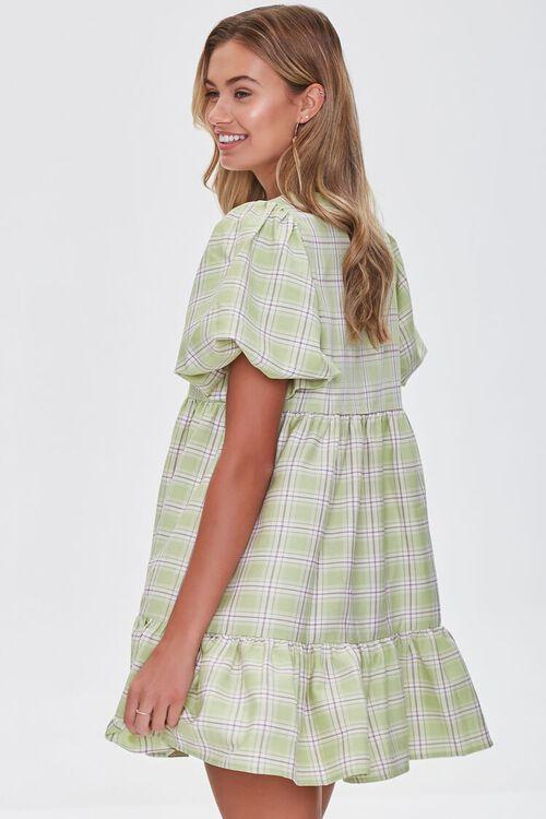 PISTACHIO/MULTI Tiered Plaid Mini Dress, image 2