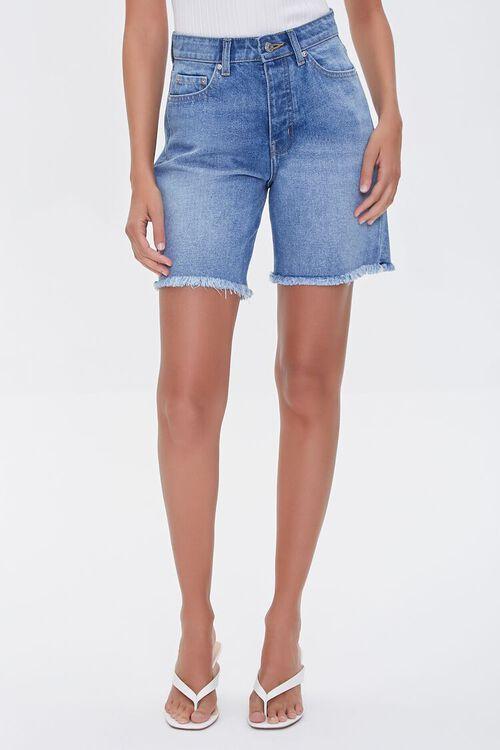 LIGHT DENIM Frayed Denim Shorts, image 2