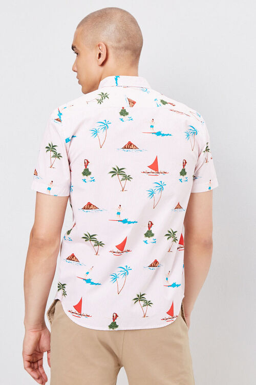 Fitted Pinstriped Tropical Shirt, image 3