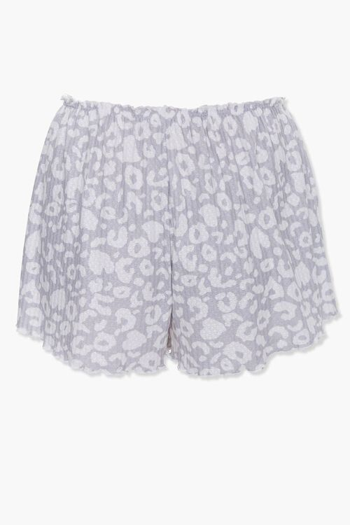 GREY/WHITE Animal Print Sleep Shorts, image 3