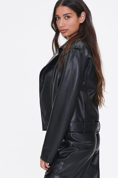 Faux Leather Belted Moto Jacket, image 2