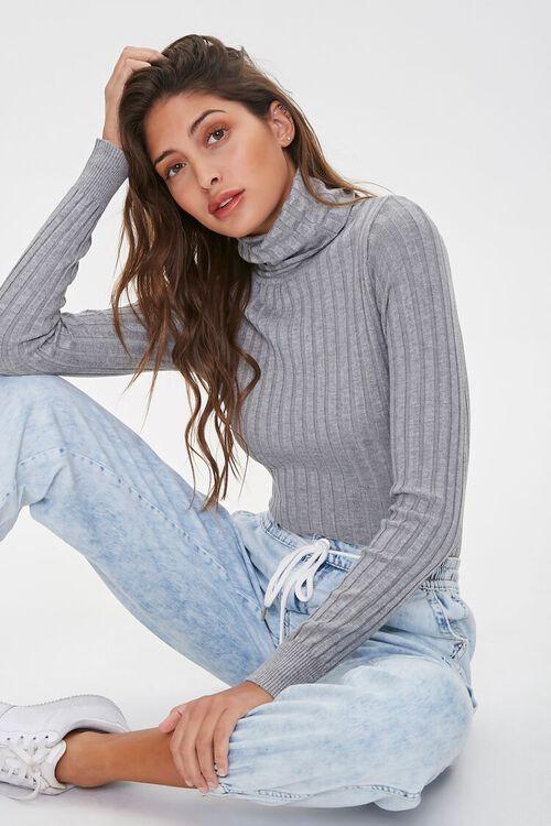 HEATHER GREY Ribbed Turtleneck Sweater, image 1