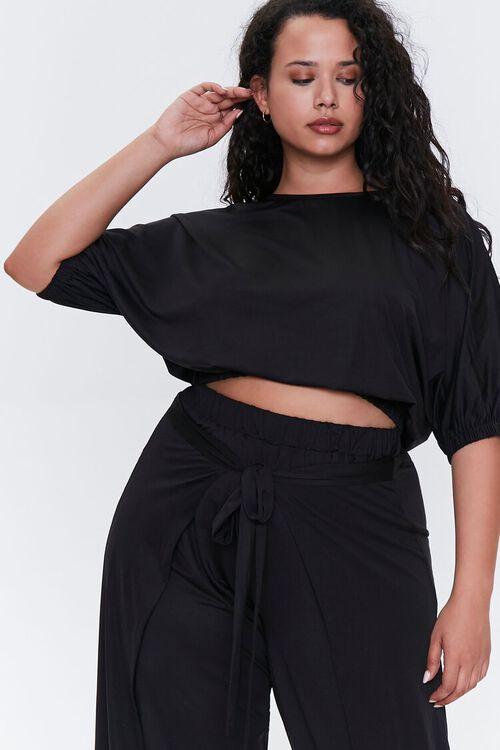 BLACK Plus Size Crop Top & Pants Set, image 5