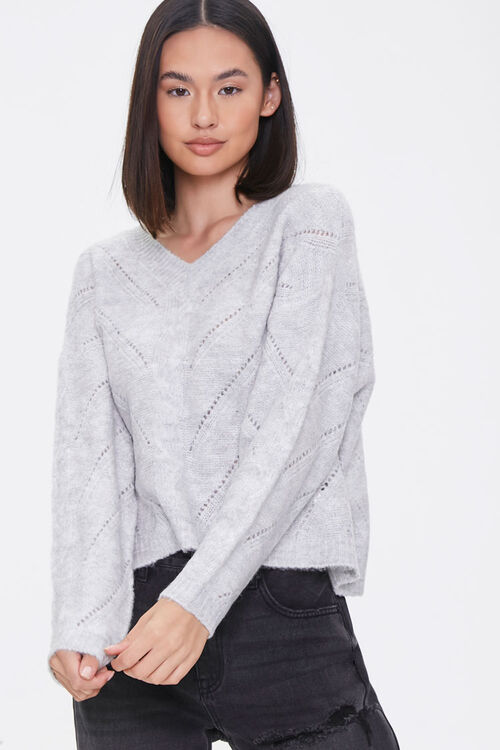 Pointelle Knit V-Neck Sweater, image 1
