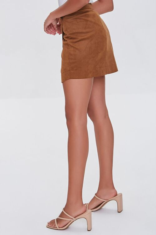 CAMEL Faux Suede Wrap-Front Skirt, image 3