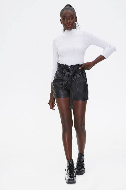 Faux Leather Paperbag Shorts, image 4